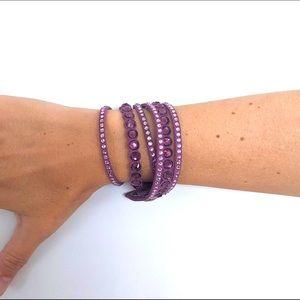 Swarovski Crystal Suede Wrap Bracelet. NWOT